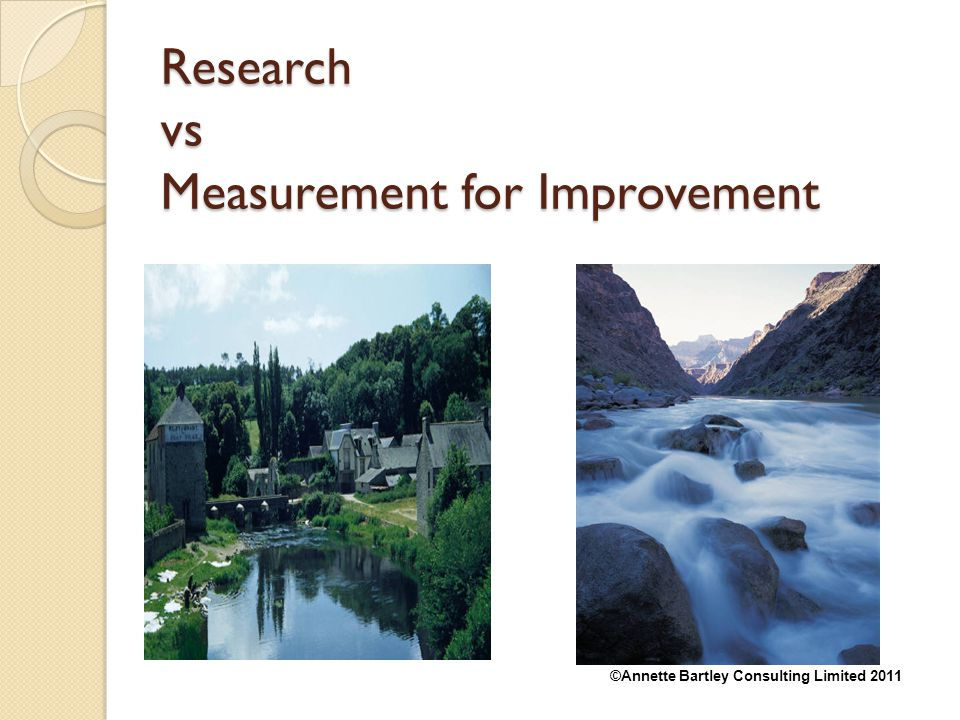 Research vs Measurement for Improvement
