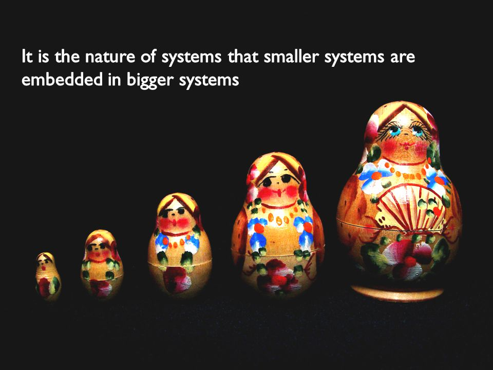 It is the nature of systems that smaller systems are embedded in bigger systems