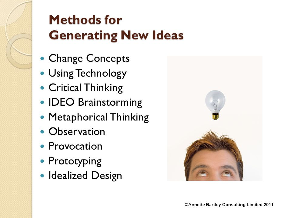 Methods for Generating New Ideas