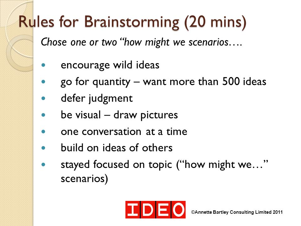 Rules for Brainstorming (20 mins)