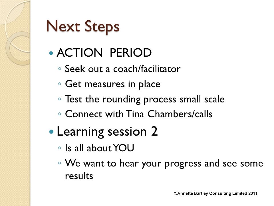 Next Steps Learning session 2 ACTION PERIOD