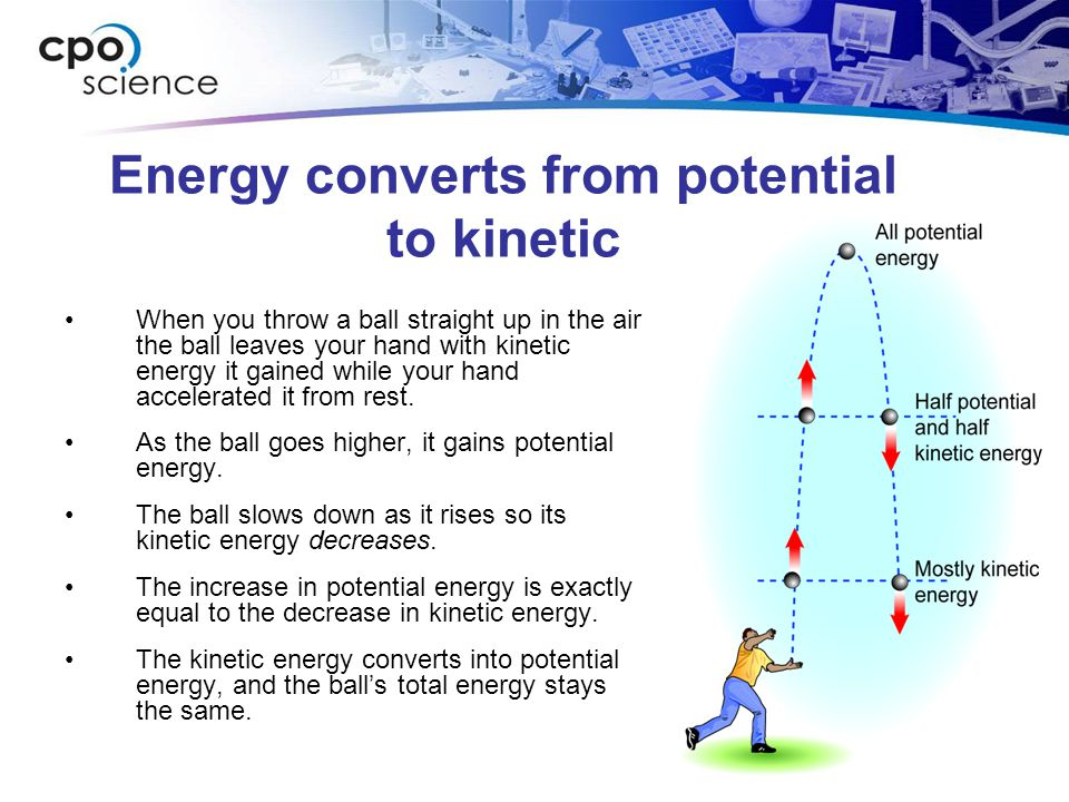 Energy converts from potential to kinetic