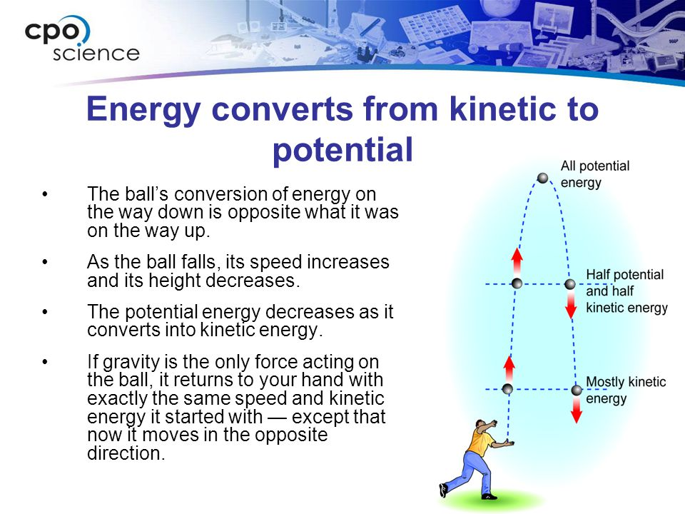 Energy converts from kinetic to potential