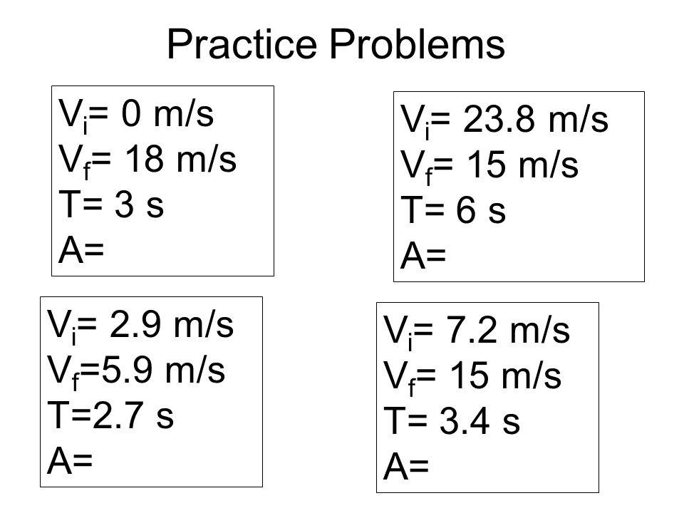 Practice Problems Vi= 0 m/s Vi= 23.8 m/s Vf= 18 m/s Vf= 15 m/s T= 3 s