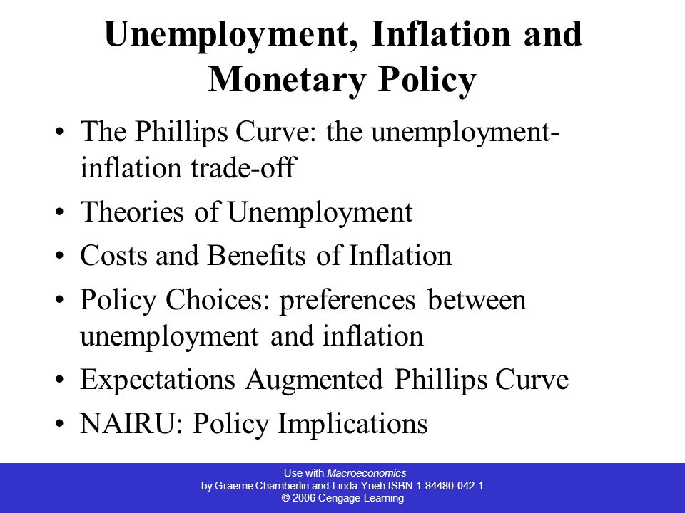 Unemployment, Inflation and Monetary Policy