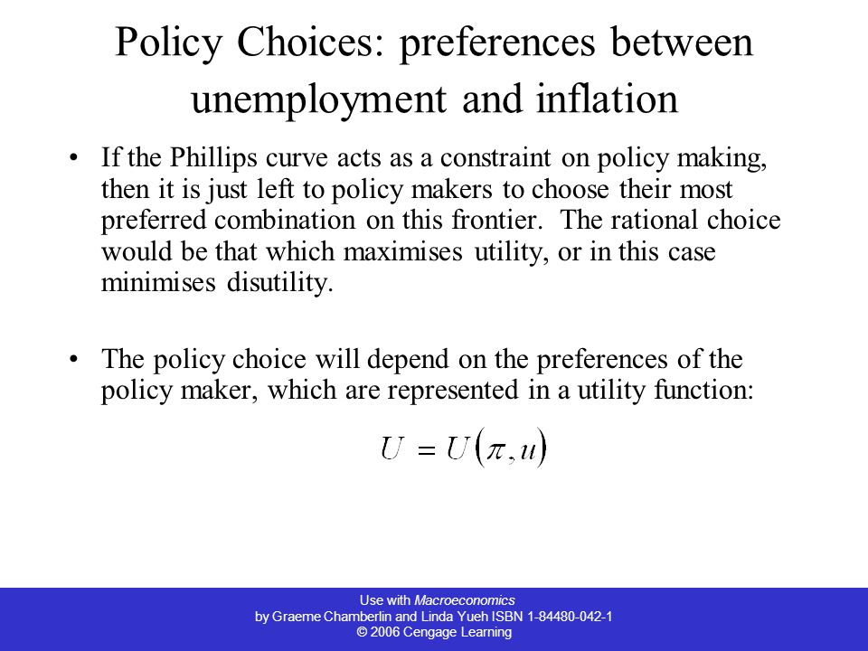 Policy Choices: preferences between unemployment and inflation