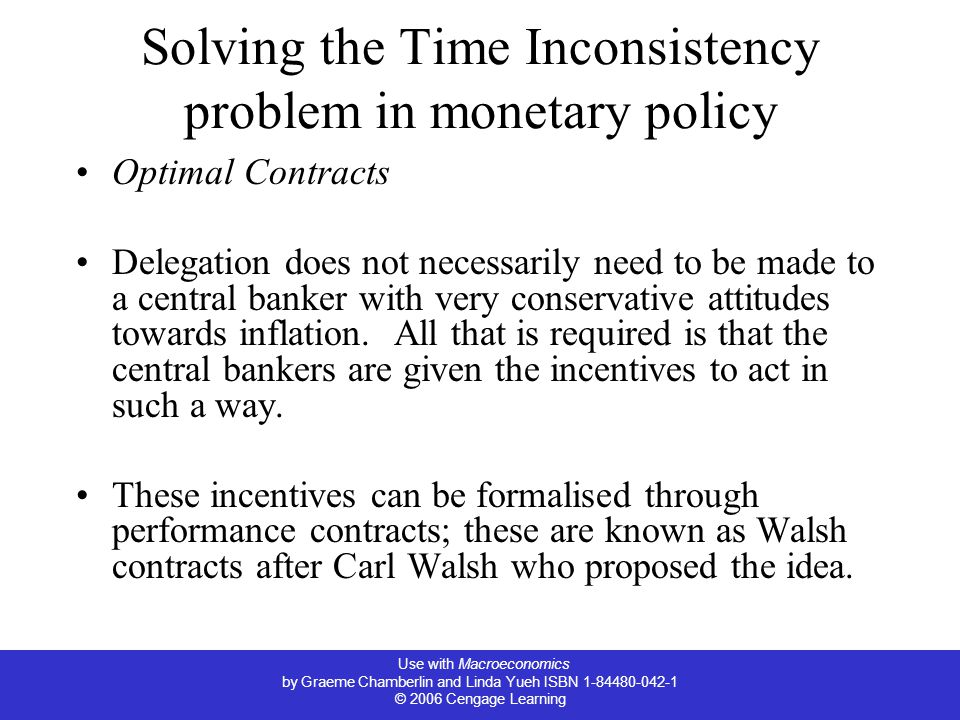 Solving the Time Inconsistency problem in monetary policy