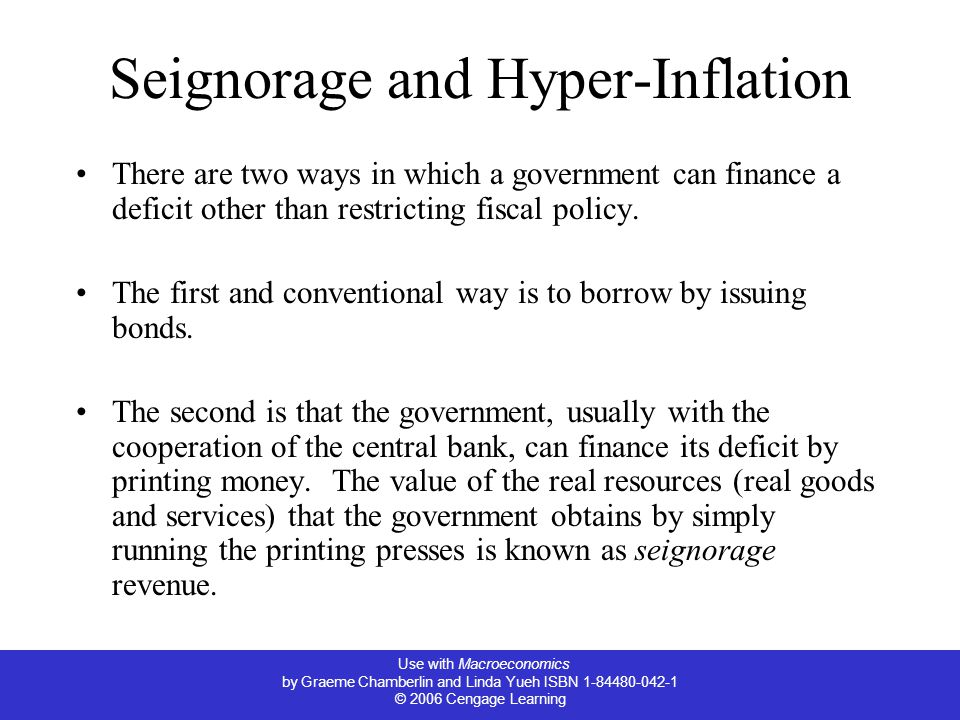 Seignorage and Hyper-Inflation