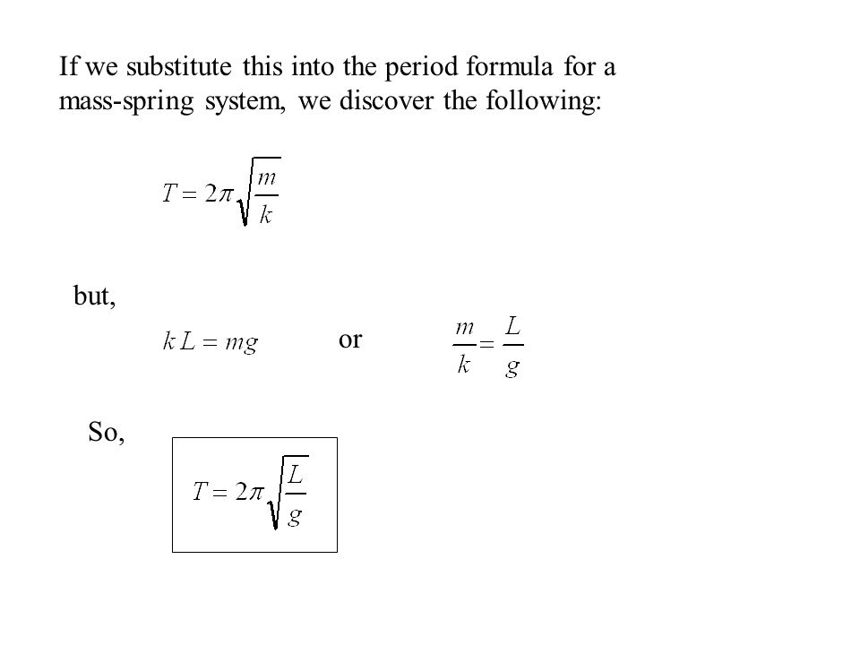 If we substitute this into the period formula for a mass-spring system, we discover the following: