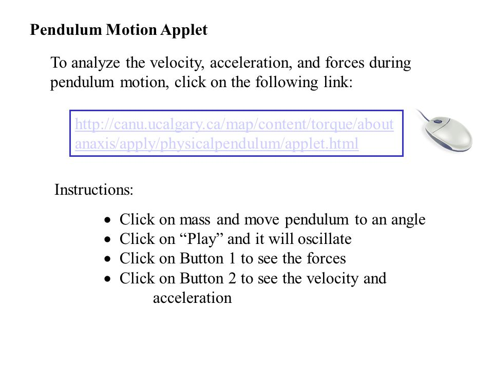 Pendulum Motion Applet