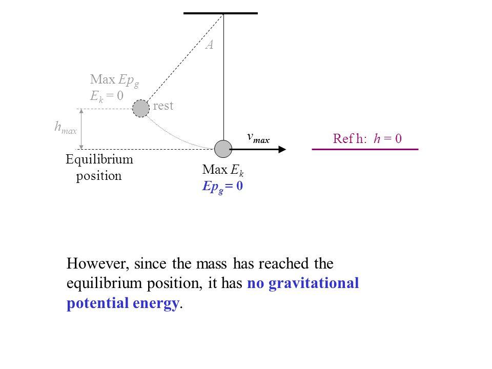 A Max Epg. Ek = 0. rest. hmax. vmax. Ref h: h = 0. Equilibrium. position. Max Ek. Epg = 0.