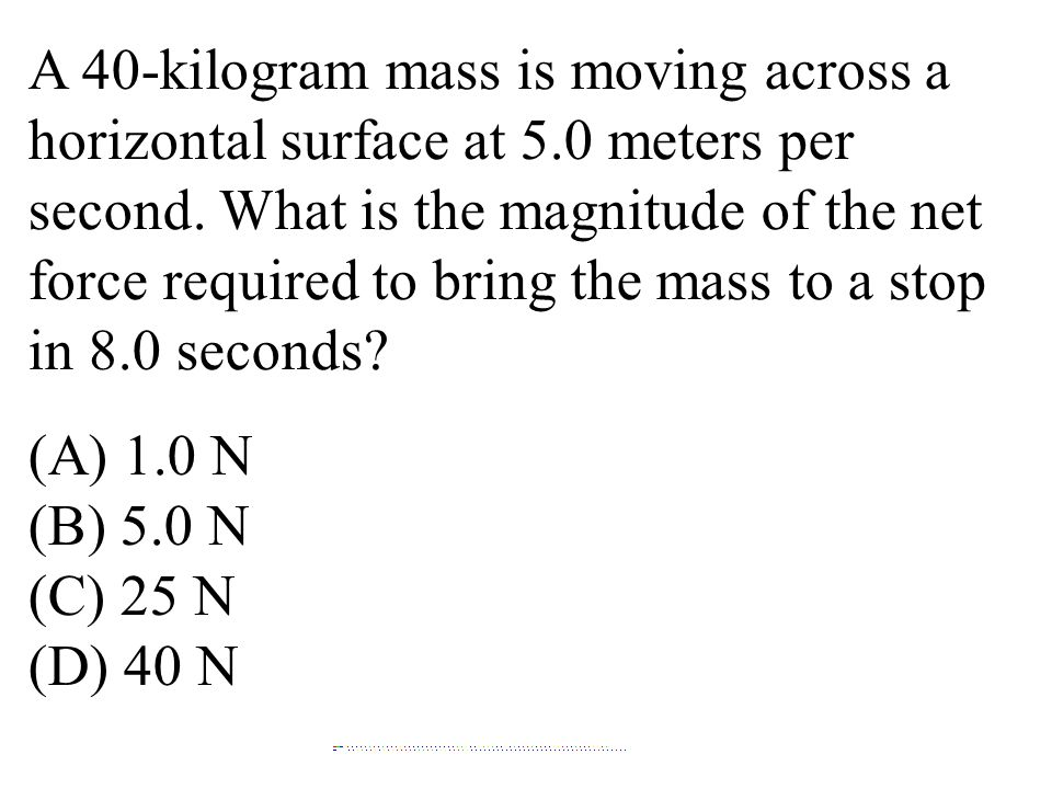 A 40-kilogram mass is moving across a horizontal surface at 5