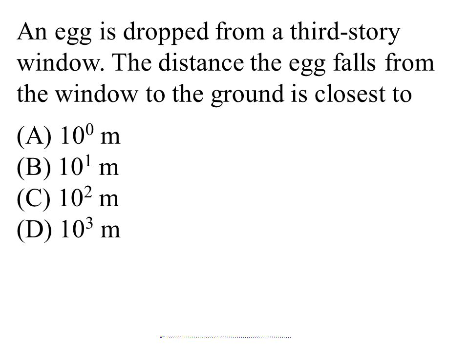 An egg is dropped from a third-story window