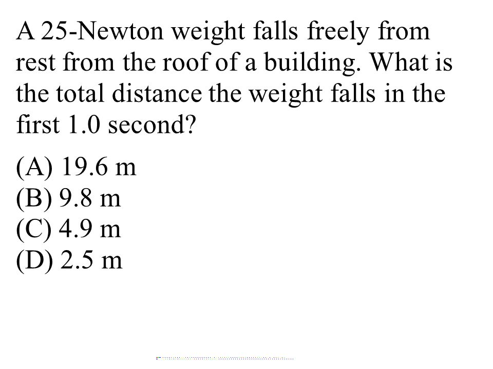 A 25-Newton weight falls freely from rest from the roof of a building