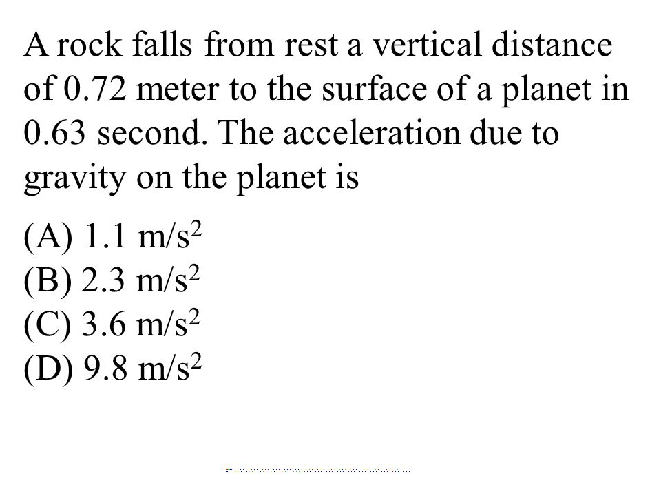 A rock falls from rest a vertical distance of 0