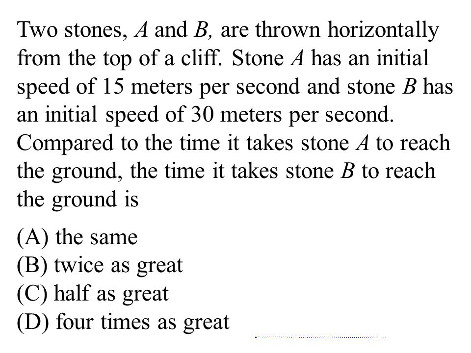 Two stones, A and B, are thrown horizontally from the top of a cliff