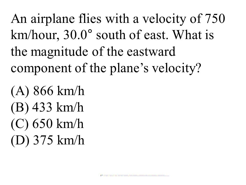 the magnitude of the eastward component of the plane's velocity