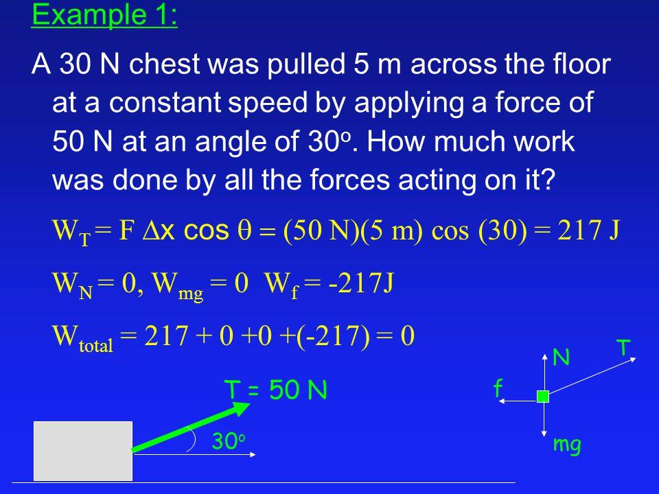 WT = F Dx cos q = (50 N)(5 m) cos (30) = 217 J