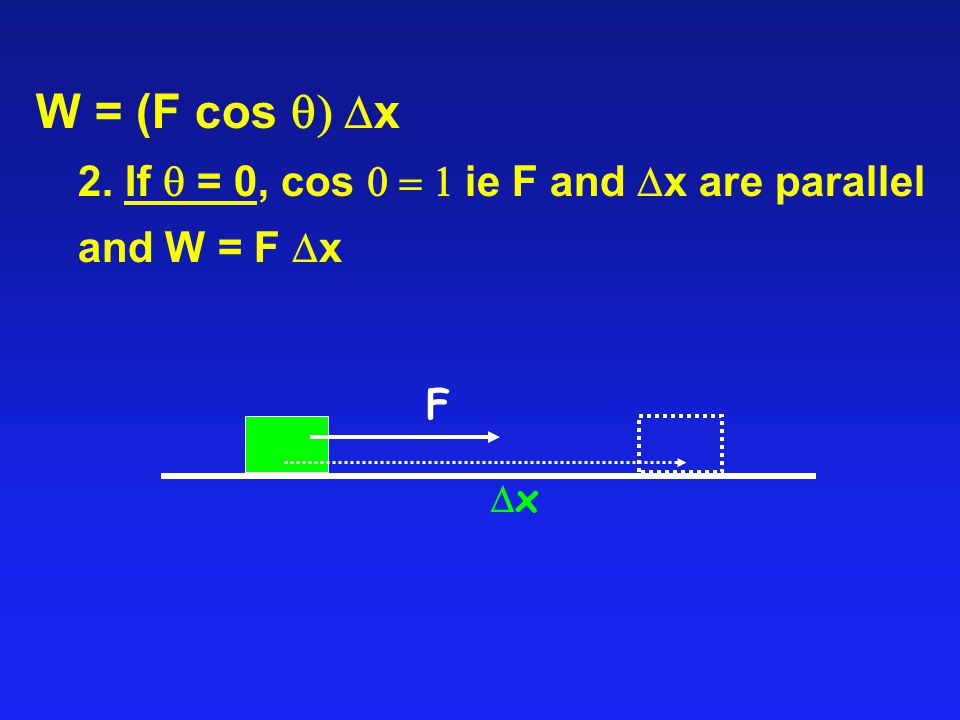 W = (F cos q) Dx 2. If q = 0, cos 0 = 1 ie F and Dx are parallel