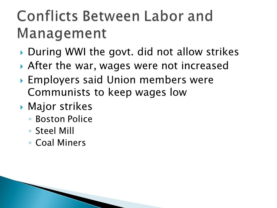 Conflicts Between Labor and Management