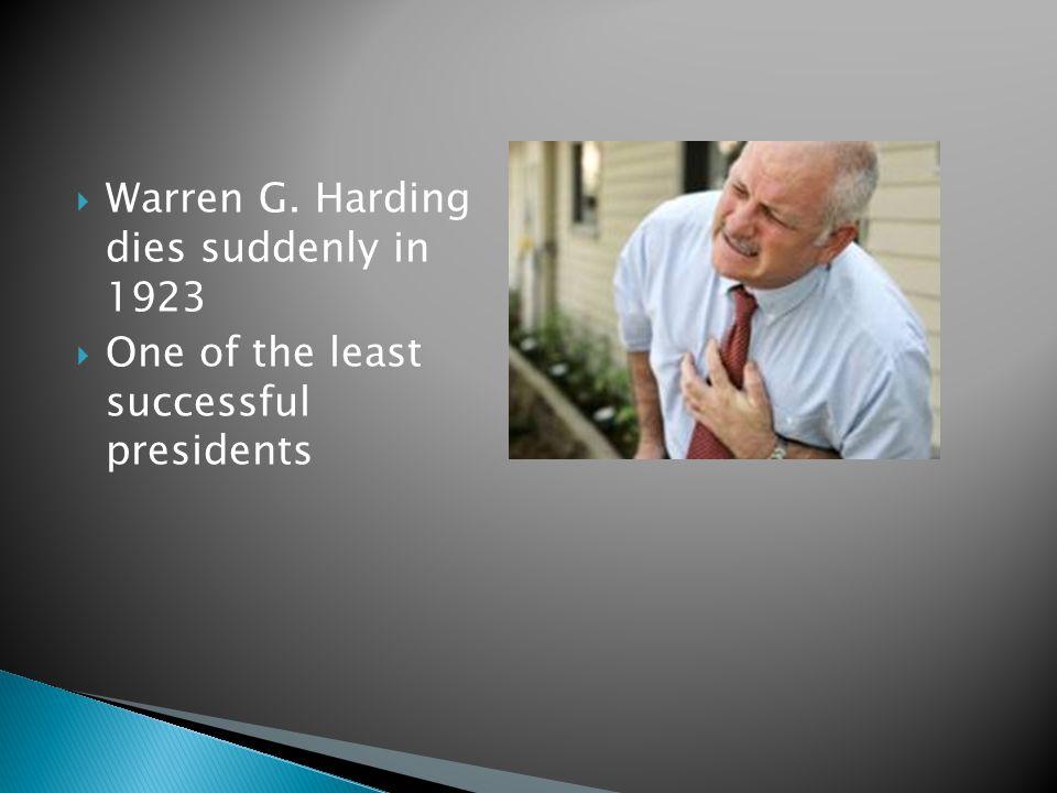 Warren G. Harding dies suddenly in 1923