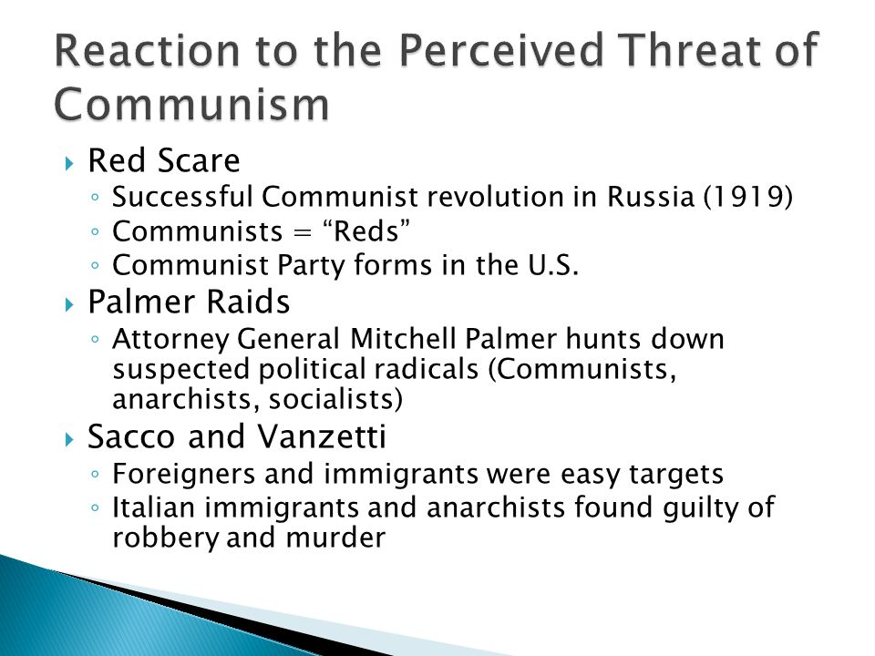 Reaction to the Perceived Threat of Communism