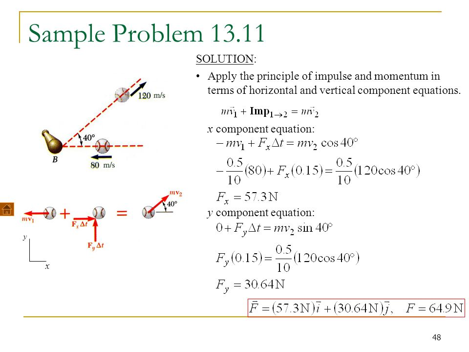 Sample Problem 13.11 x component equation: y component equation: