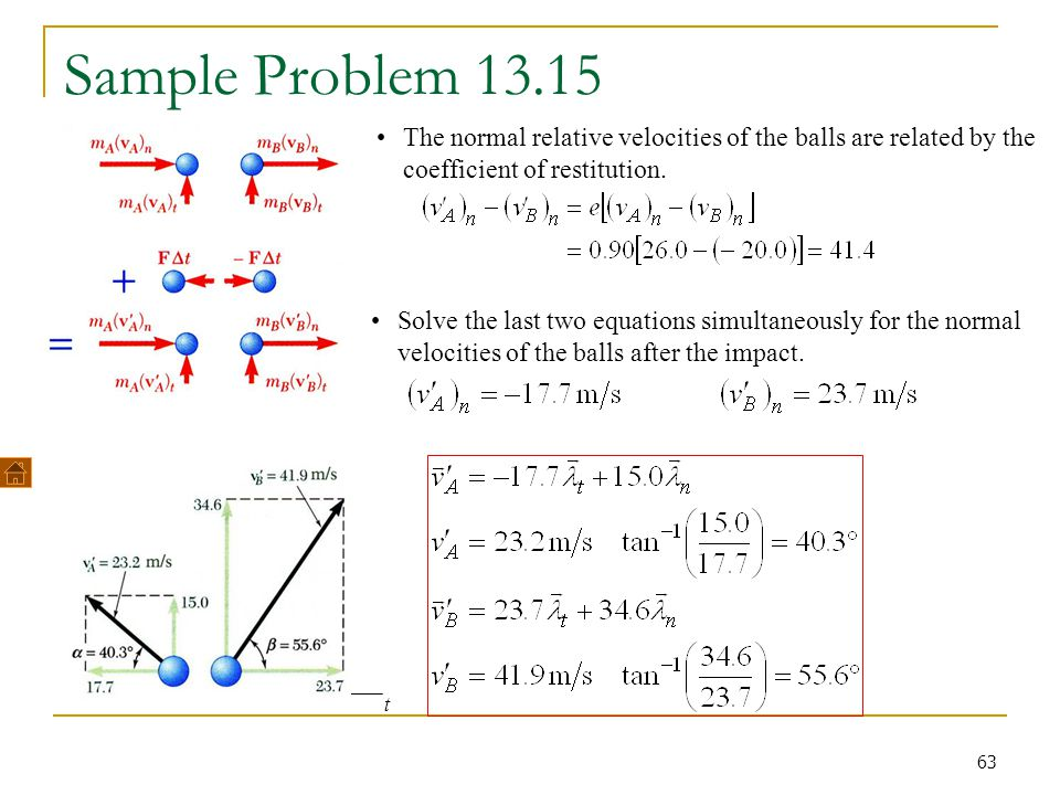 Sample Problem 13.15 The normal relative velocities of the balls are related by the coefficient of restitution.