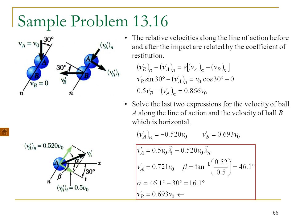 Sample Problem 13.16 The relative velocities along the line of action before and after the impact are related by the coefficient of restitution.