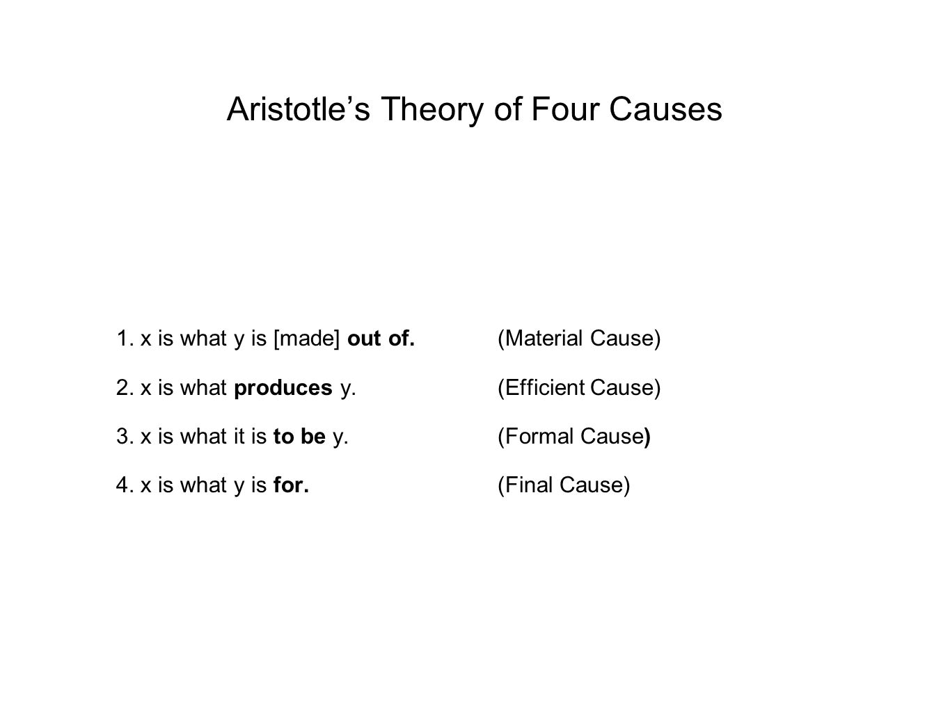 Aristotle's Theory of Four Causes