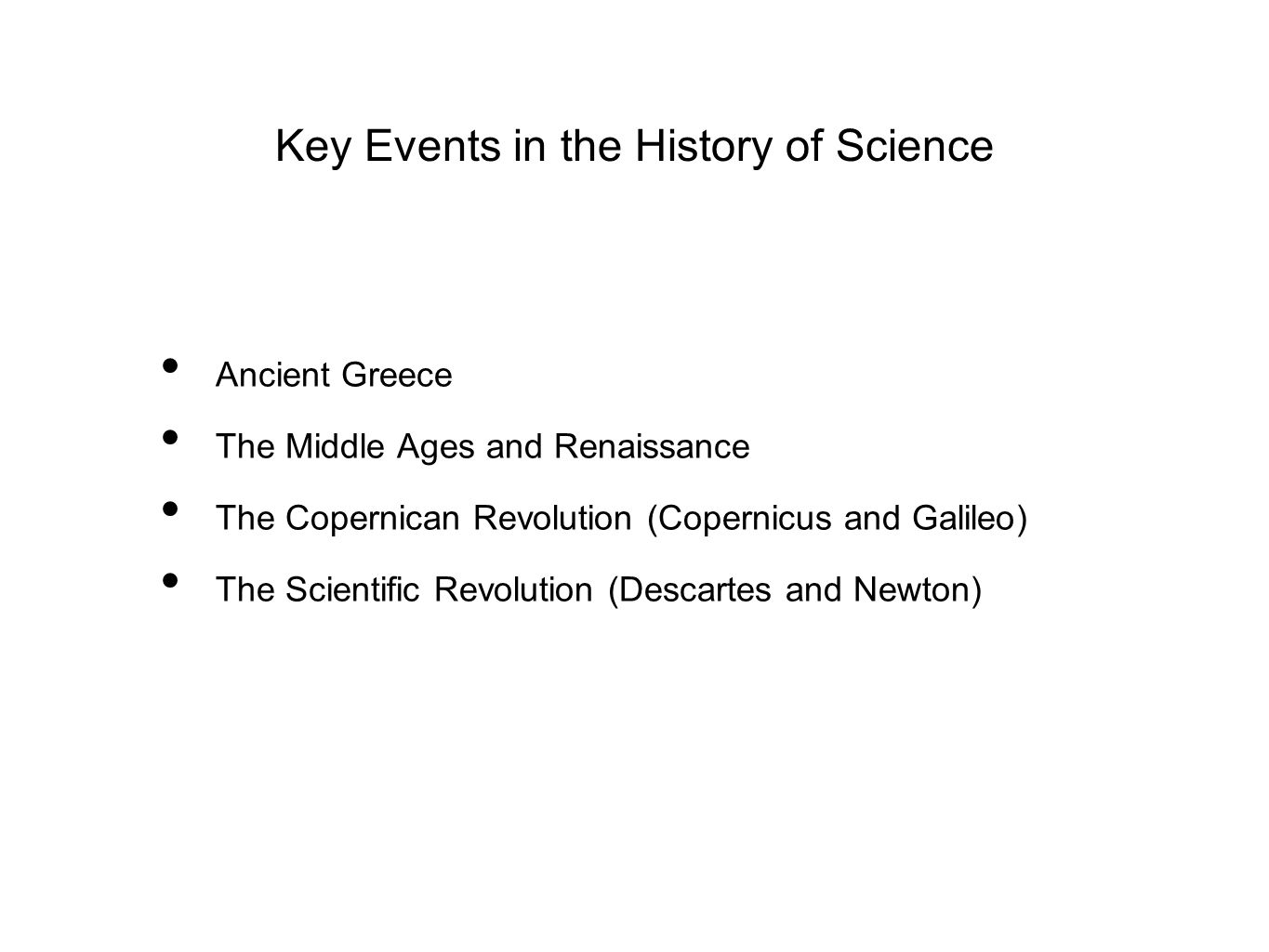 Key Events in the History of Science