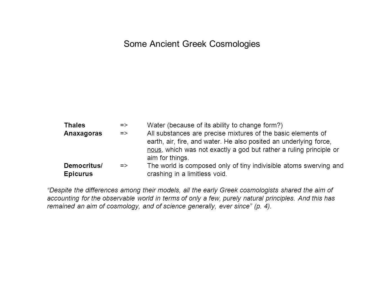 Some Ancient Greek Cosmologies