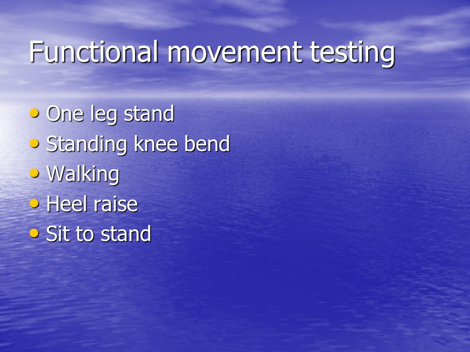 Functional movement testing