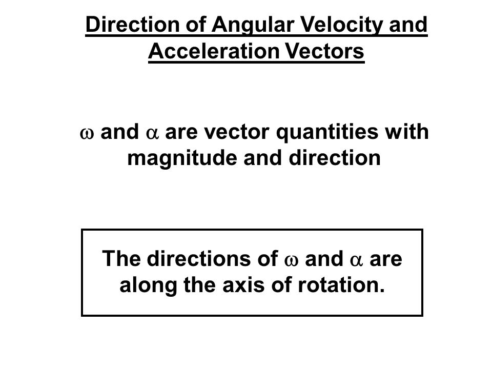 Direction of Angular Velocity and Acceleration Vectors
