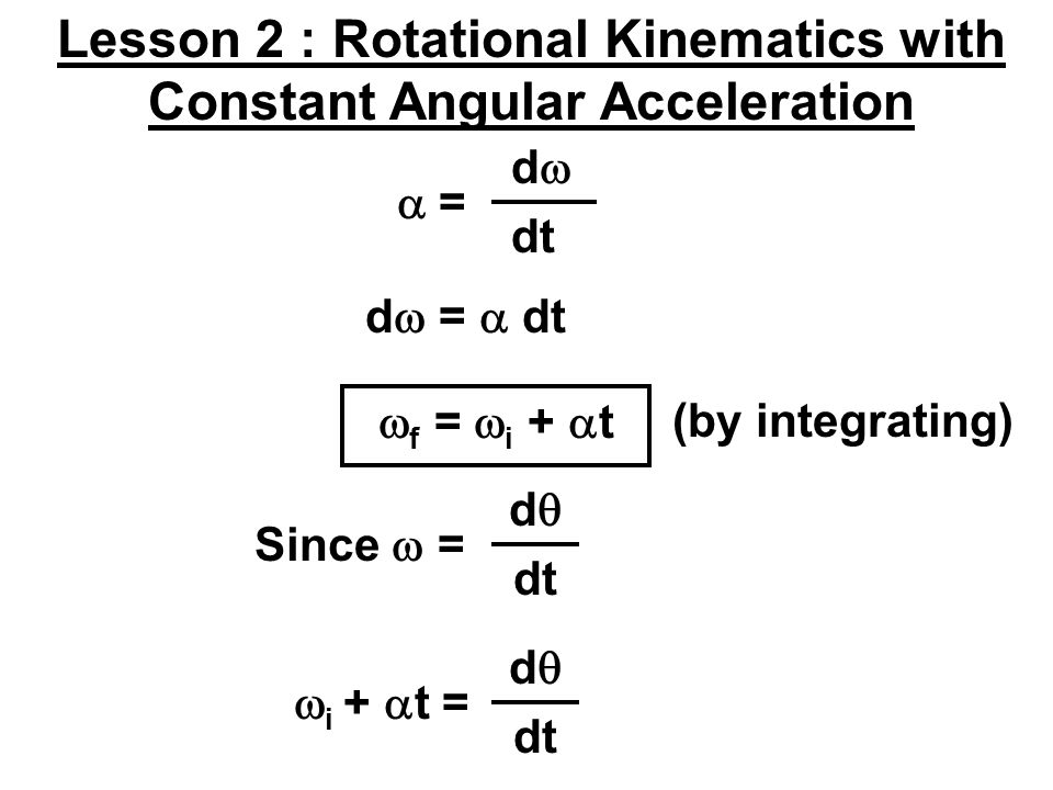 Lesson 2 : Rotational Kinematics with Constant Angular Acceleration