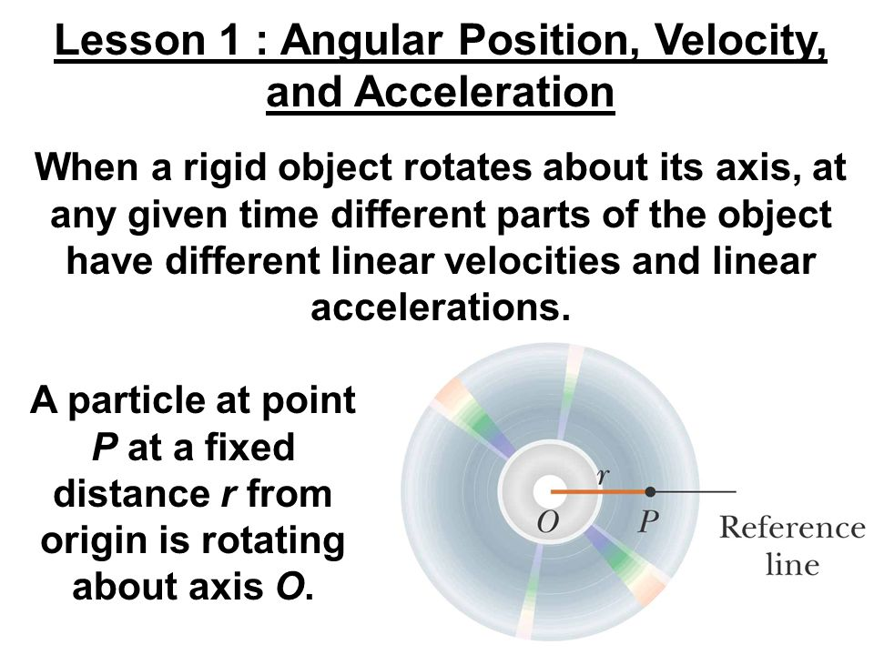 Lesson 1 : Angular Position, Velocity, and Acceleration