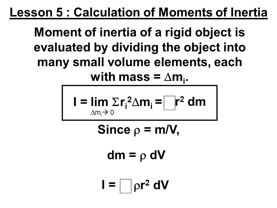 Lesson 5 : Calculation of Moments of Inertia