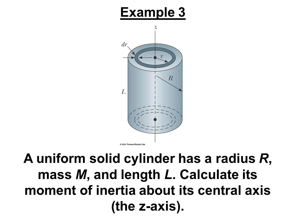 Example 3 A uniform solid cylinder has a radius R, mass M, and length L.