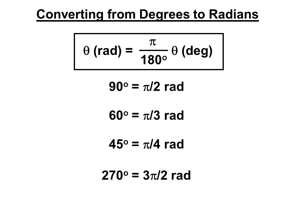 Converting from Degrees to Radians