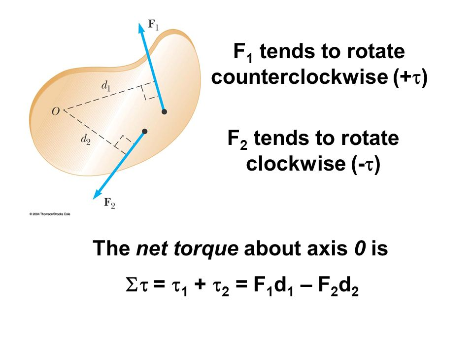 F1 tends to rotate counterclockwise (+t)
