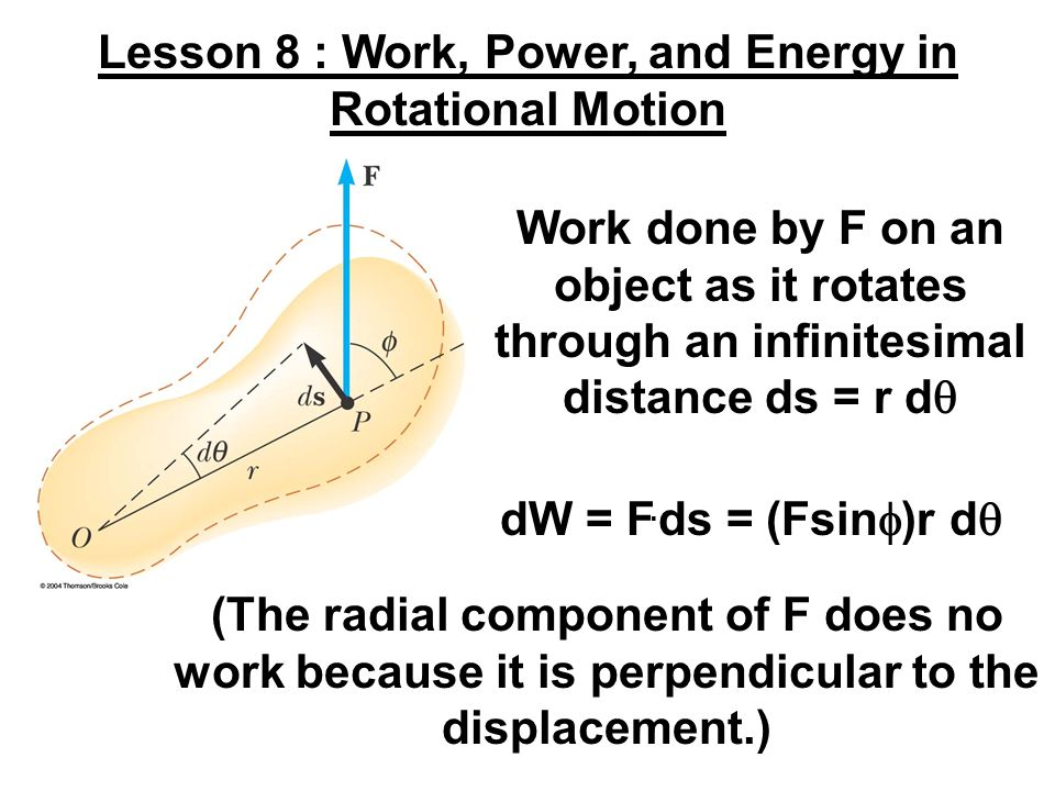 Lesson 8 : Work, Power, and Energy in Rotational Motion