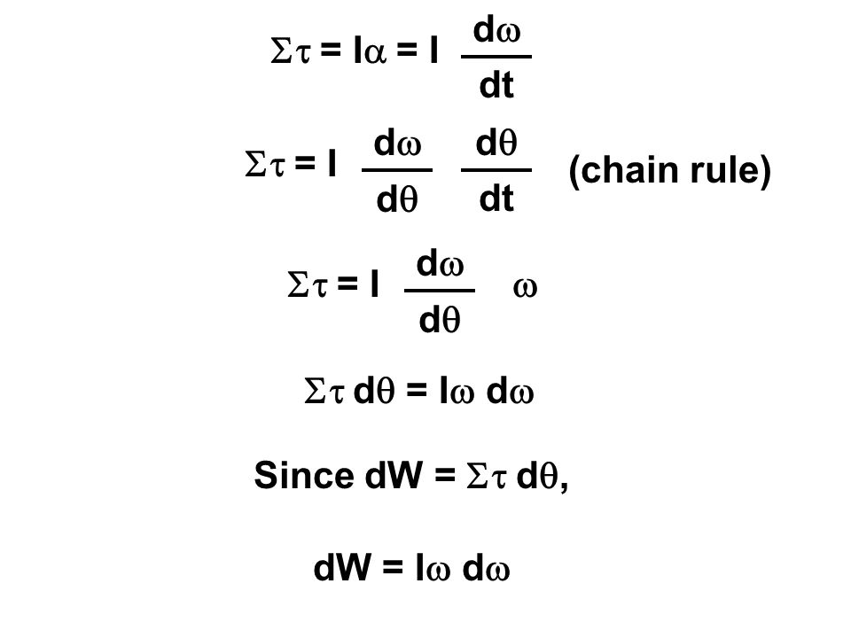 St = Ia = I dw. dt. St = I. dw. dq. dt. (chain rule) St = I. dw. dq. w. St dq = Iw dw. Since dW = St dq,