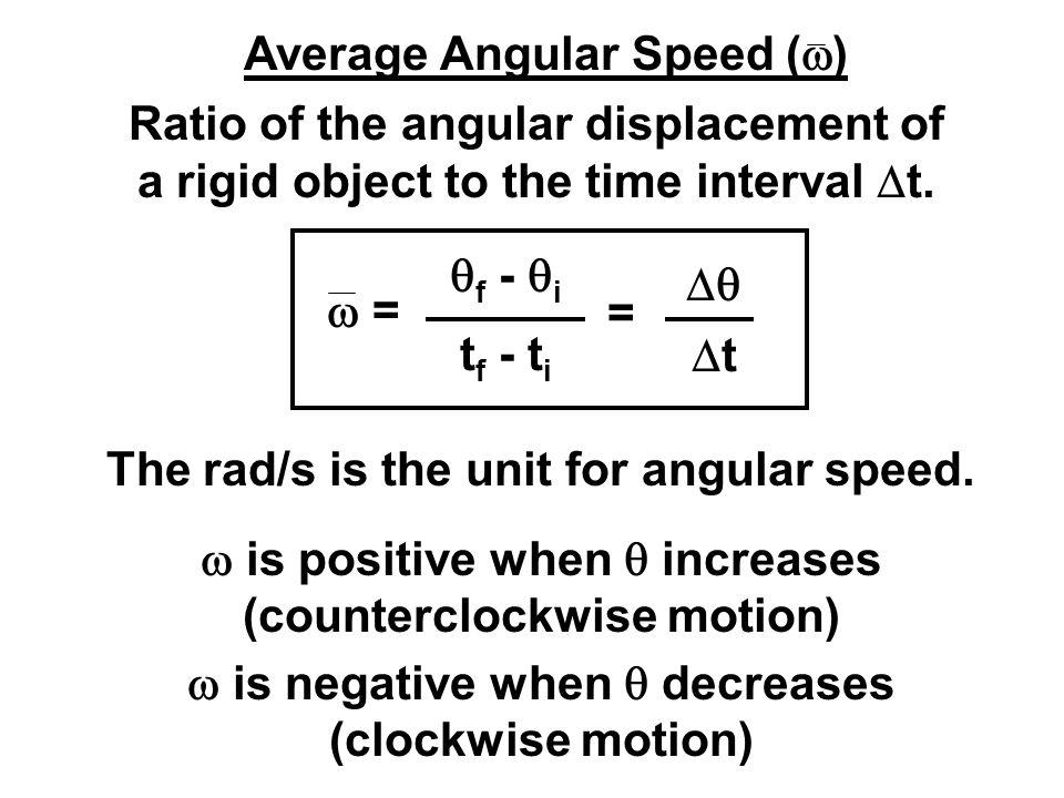 Average Angular Speed (w)