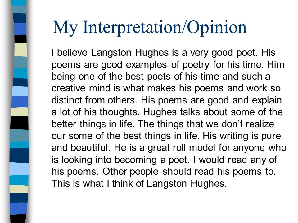 My Interpretation/Opinion