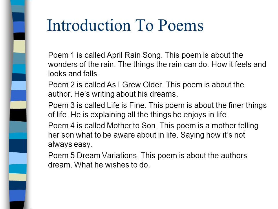Introduction To Poems