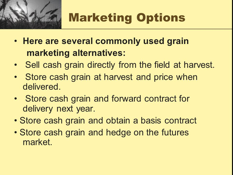 Marketing Options Here are several commonly used grain
