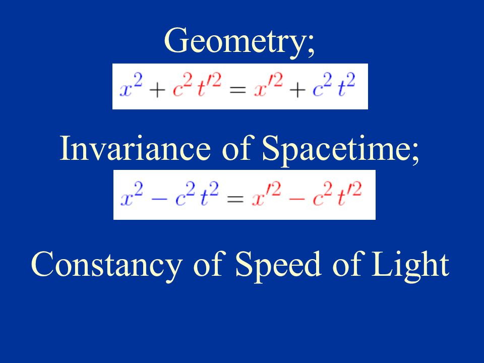 Geometry; Invariance of Spacetime; Constancy of Speed of Light