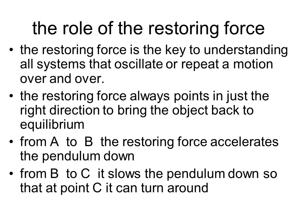 the role of the restoring force