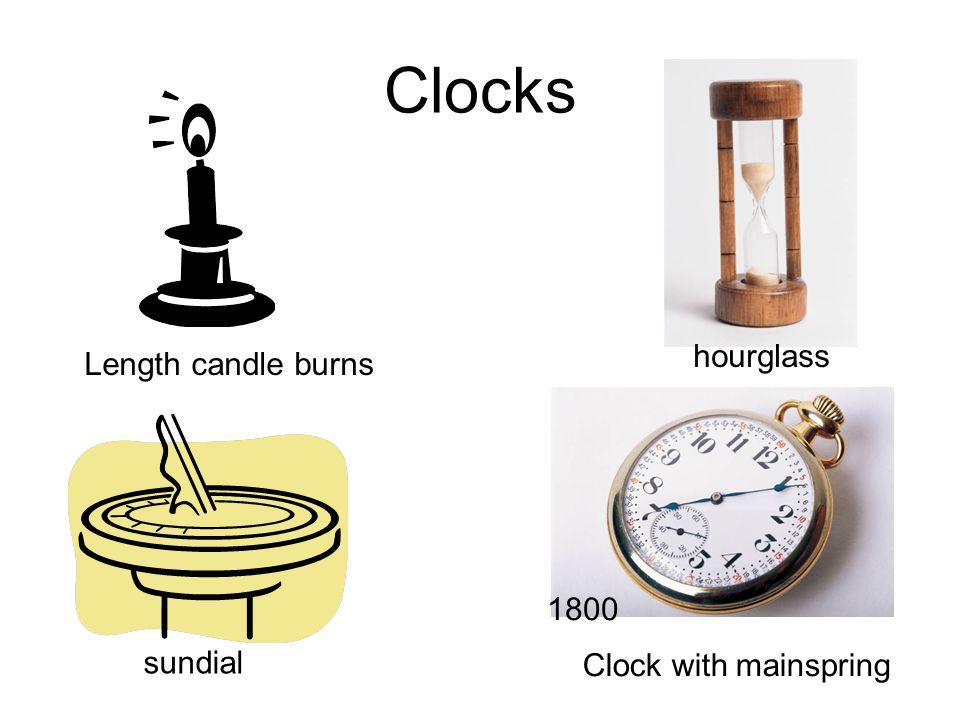 Clocks hourglass Length candle burns 1800 sundial