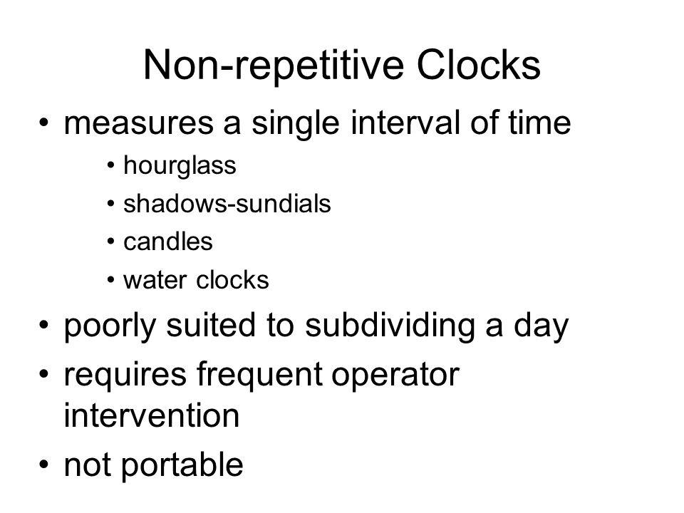 Non-repetitive Clocks